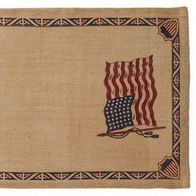 OLD GLORY Flag Burlap Table Runner Americana Stars & Stripes 13