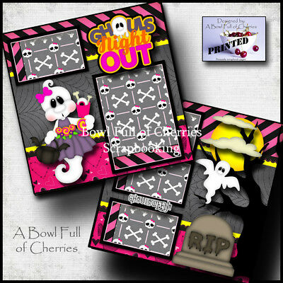 GHOULS NIGHT OUT 2 pre-made pages paper piecing layout Halloween BY CHERRY #0024