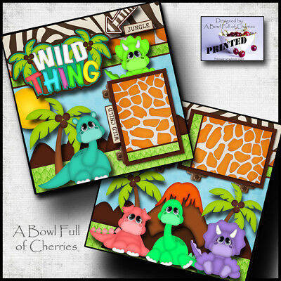 WILD THING ~ 2 premade scrapbook pages paper piecing layout 4 album ~ BY CHERRY