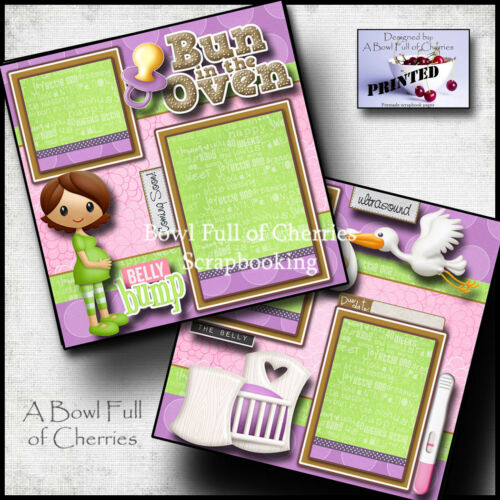 Bun in the oven pregnancy 2 premade scrapbook pages paper piecing baby by cherry