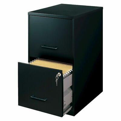 Hirsh Black Sleek And Stylish Vertical 2 Locking Drawer Filing Cabinet Metal New