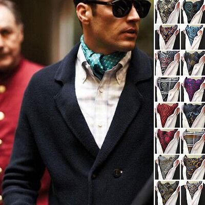 Ascot Tie - Fashion Men's Ascot Cravat Paisley Skinny Silk Tie Jacquard Woven Party Necktie