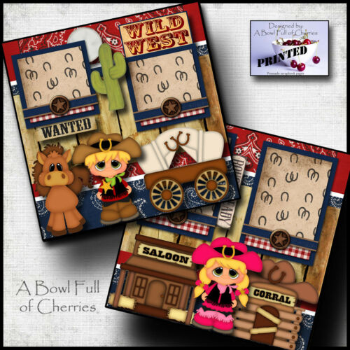 WILD WEST ~ boy girl 2 premade scrapbook pages printed paper piecing BY CHERRY