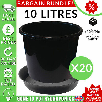 Pot and Saucer Discount Bundle - 20 x 10L Round Pot, 20 x 30cm Saucer