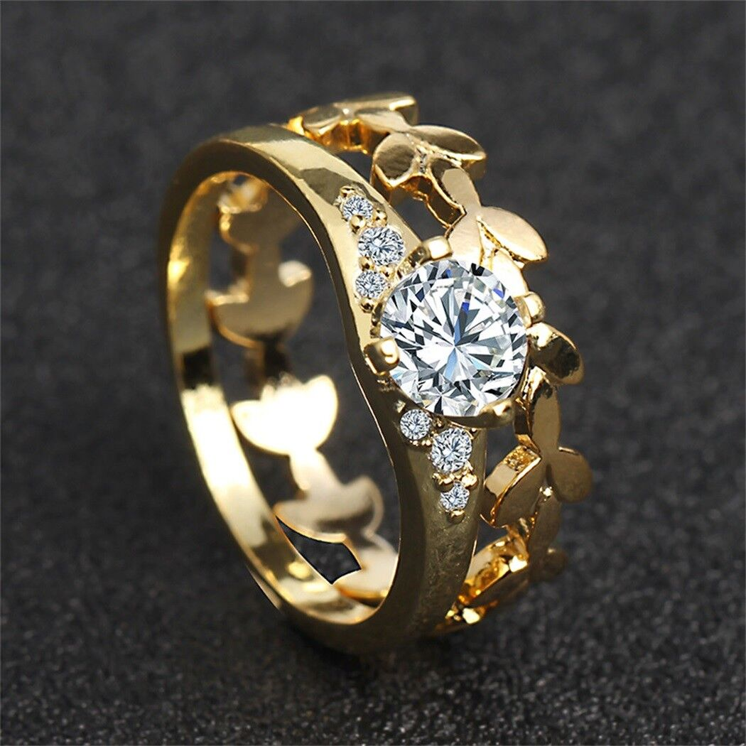Women 18K Yellow Gold Filled White Sapphire Floral Ring Set