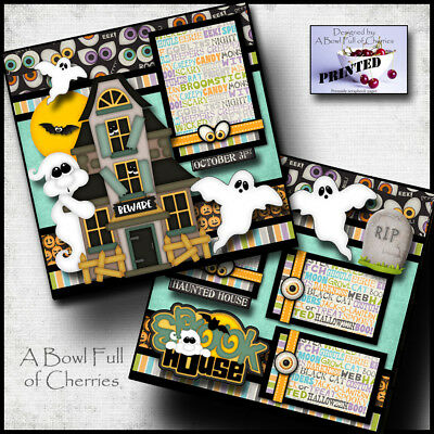 SPOOK HOUSE ~ halloween haunted 2 premade scrapbook pages printed paper ~ CHERRY (Spook Halloween)