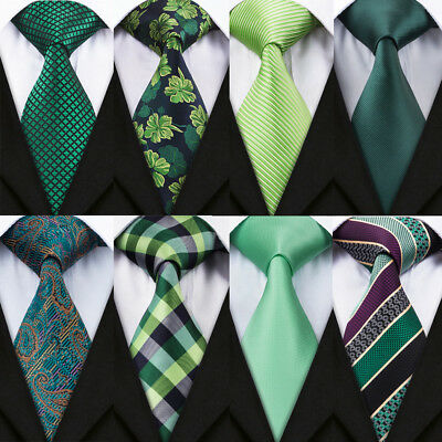 USA Men Tie Silk Classic Green Necktie 26 Style Woven Checks Solid Floral Ties ()