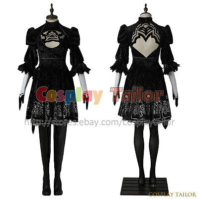Nier Automata 2B Cosplay Costume Halloween Black Dress Women Uniform Cool Outfit](Cool Women Halloween Costumes)