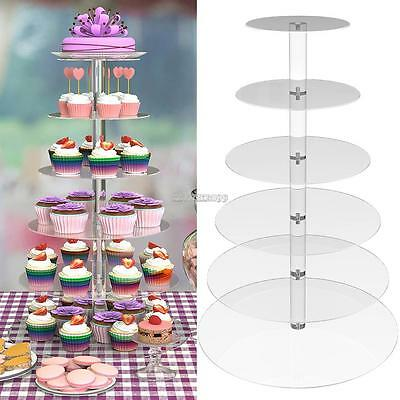 Tiered Cake Stand (Hot 5/6/7 Tier Crystal Clear Acrylic Glass Round Wedding Cake Stand Cupcake)