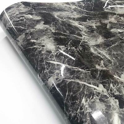 Marble Interior film Self adhesive Glossy Black Marble Paper Basti