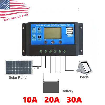 10/20/30A Solar Panel Battery Regulator Charge Controller Dual USB 12V 24V US (Panel Controller)