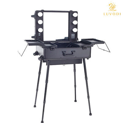 Rolling Makeup Artist Cosmetic Case Studio Show w/ Light Mirror Table Trolley -