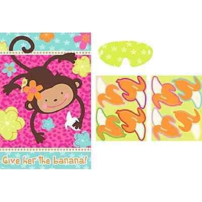 Monkey Love Mod Pink Animal Luau Kids Birthday Party Activity Pin Banana Game - Luau Kids Games