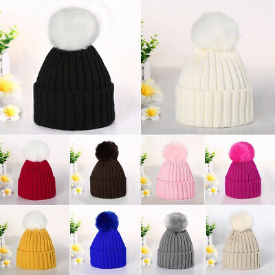 USA Women Kids Baby Child Warm Winter Knitted Beanie Fur Pom Hat Crochet Ski Cap