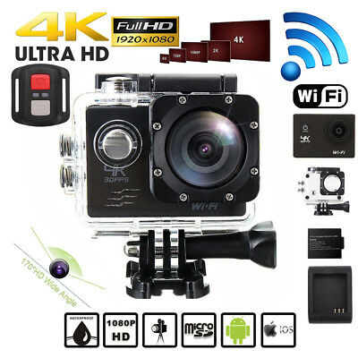 4K 16MP Ultra HD Sports Action Camera Wifi 30M Waterproof 2 Batteries For Gopro