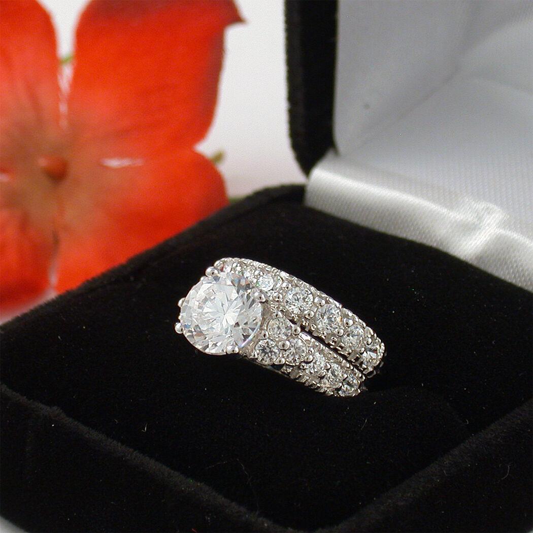 3 CT STERLING SILVER PRINCESS CUT WEDDING ENGAGEMENT RING SET 4 5 6 7 8 9 10 11
