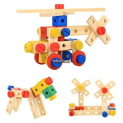 Wooden Construction Toys (Wooden Construction Toys Nut and Bolt Building Blocks Kit 78 Pieces )