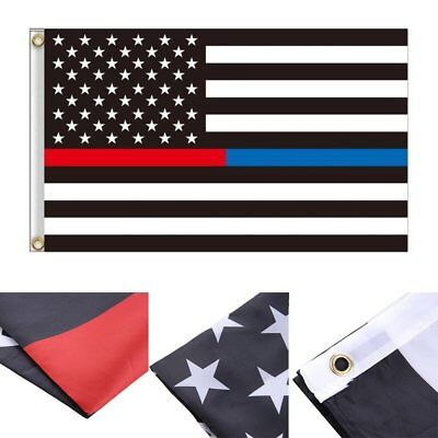 Thin Blue Red Line USA Police & Fire Respect and Honor Law Enforcement Flag 3x5