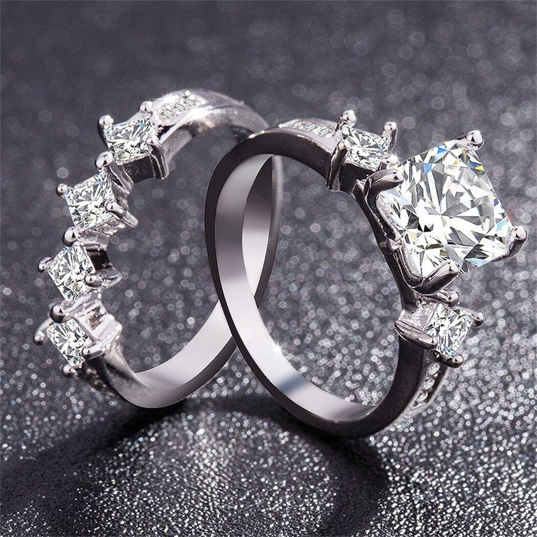 Chic Women White Sapphire Silver Ring Set Wedding Engagement