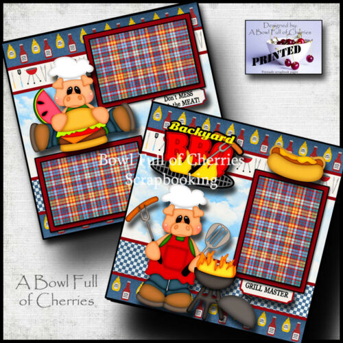 Backyard BBQ grill printed 2 premade scrapbooking pages paper layout  ~BY CHERRY
