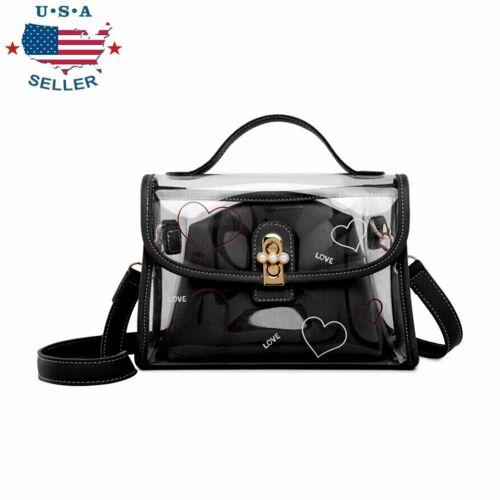 Womens Transparent Handbag Tote Messenger Bag Clear Jelly Pu