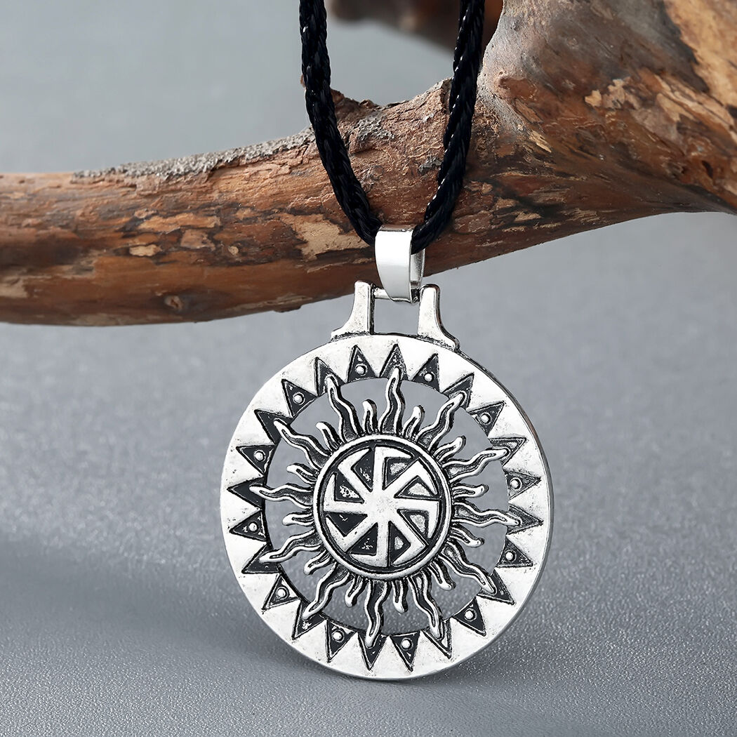 Men Viking Pendant Necklace Sun Symbol Slavic Wheel Nordic Amulet Pagan Jewelry 1