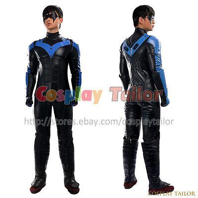 Batman: Arkham City Nightwing Cosplay Costume Party Jumpsuit Halloween Uniform  (Men Halloween Costumes Party City)