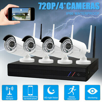 CCTV 4CH 720P Wireless NVR WIFI IR Camera Home Motion Detection Security System
