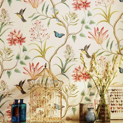 Vintage Floral Bird Wallpaper Roll Self Adhesive Rustic Vintage Contact Paper