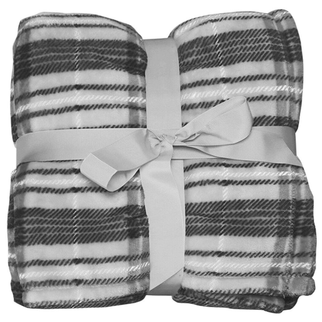 Fleece Lined Tartan Plaid Flannel Winter Throw Blanket