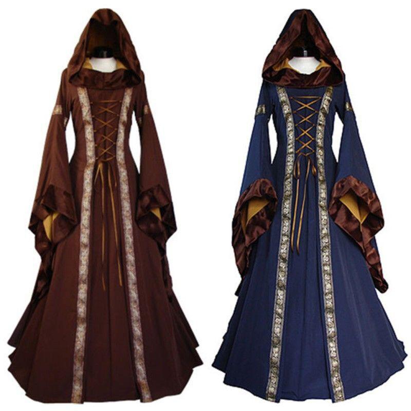 Vintage Women/'s Hooded Victorian Renaissance Gothic Dress Medieval Dress Costume