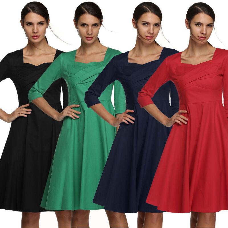 Sundress Women Square Neck 3/4 Sleeve High Waist solid Dots Print Casual dress