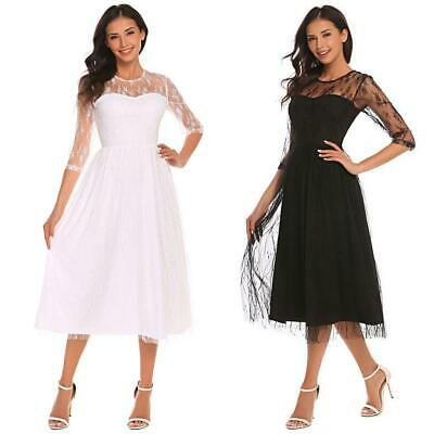 Women Elegant 3/4 Sleeve Sheer Mesh Midi Dress Cocktail Party BTL8 02