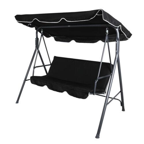 Garden Furniture - Swing Chair Hammock Outdoor Furniture Garden Canopy Cushion 3 Seater Seat Black