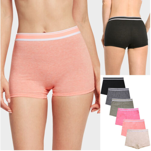 Lot of 6 Womens Boy Shorts Underwear Seamless Comfort High Rise Full Back Cover