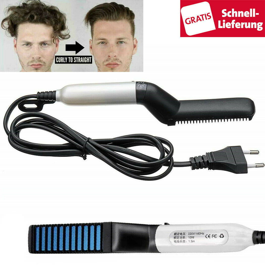 Multi-Styler Haarglätter Bürste Lockenbürste Glätteisen Elektrisch Bart Haarkamm
