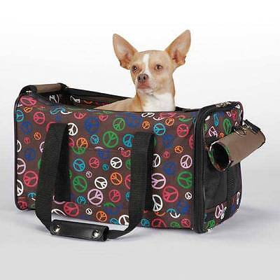 "Peace Out  Dog Carrier Duffle Bag Style Folding 17.5"" x 9.5"" x 10.25"""