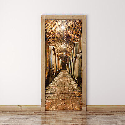 Door Mural Oak barrels in wine cellar - Self Adhesive Door Skin, Cover, Wrap