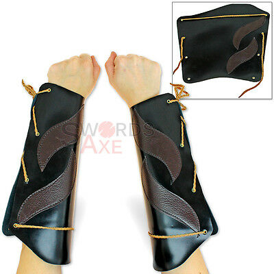 Elven Windwalker Leather Bracers Pair Cosplay Cordura Armor Forearms - Elven Costumes