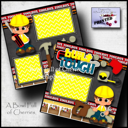 BUILT TOUGH  ~ 2 premade scrapbook pages paper piecing boy toolbox CHERRY #0039