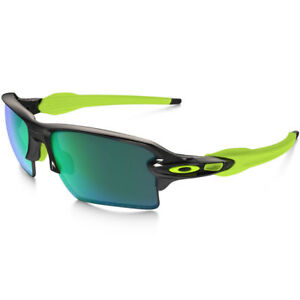 ad6ab45fbc Oakley Oo9188-09 Flak Jacket 2.0 Xl Black With Jade Iridium ...