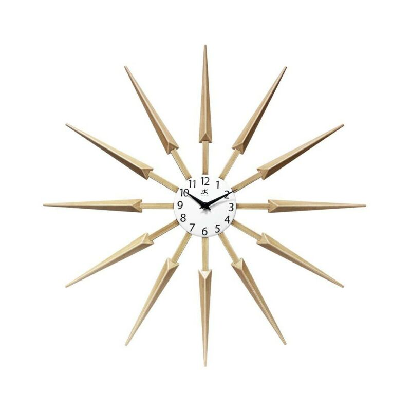 Infinity Instruments 15555WL Celeste Mid Century Modern 24 Inch Wall Clock  Tan