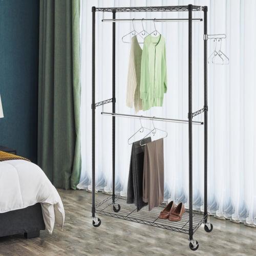 Heavy Duty Clothes Garment Rack Closet w/ Rolling Wheel Storage Dual Hanging Rod
