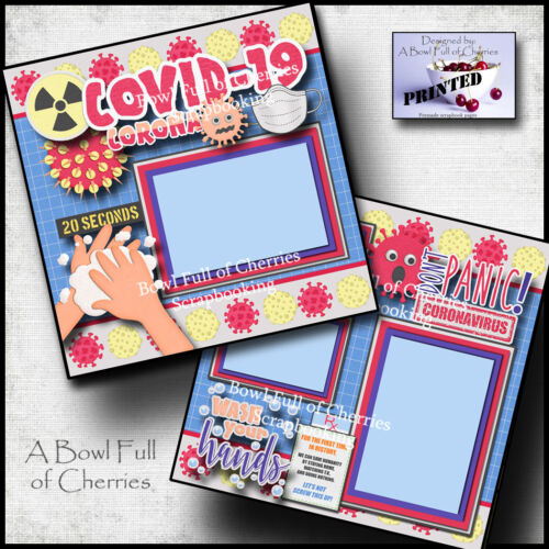 QUARANTINE ~ pandemic 2 premade scrapbook pages paper printed CHERRY #0137