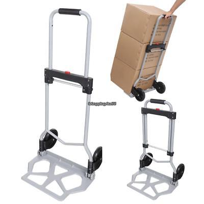 Folding Dolly Push Truck Hand Cart Collapsible Trolley Luggage Aluminium 100kg