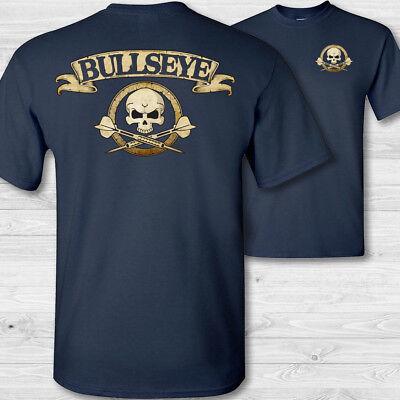 Darts crossbones t-shirt, bullseye skull shirt, throwing darts badge tee - Skull Crossbones