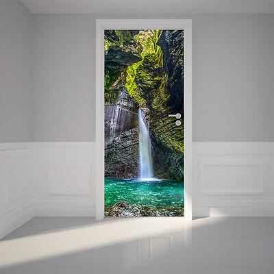 Door Wall Sticker Waterfall - Self Adhesive Peel & Stick Removable Fabric Mural