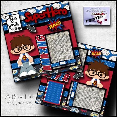 BE YOUR OWN SUPERHERO ~ 2 premade scrapbook pages paper printed 4 album ~ CHERRY (Superhero Scrapbook Paper)