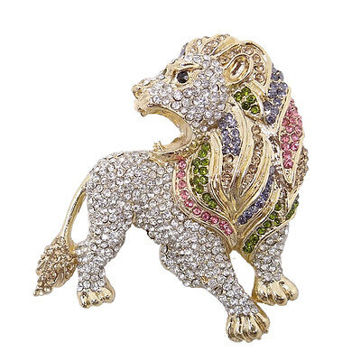 Lion King Animal Brooch Pin Multi Austrian Crystal Gold Tone Women Party Gift