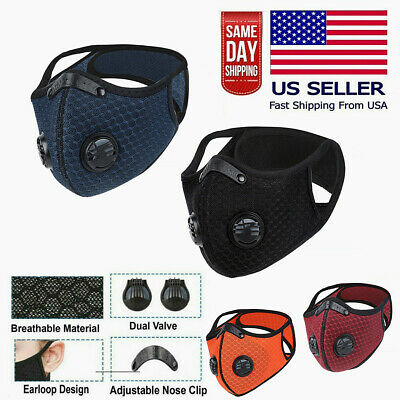 NEW style Cycling Face Mask w/ Active Carbon Filter Breathing Valves Reusable~
